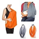 JTSN - Funda para lactancia materna, ligera, suave, transpirable, para asiento de coche, portabebés, 2 unidades, color naranja