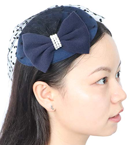 Women's Fascinators Hat Pillbox Hat Cocktail Party Hat with Dot Veil Bowknot Hair Clip, Dark Navy Blue, One Size