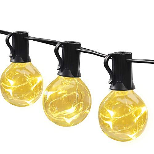 MYCARBON LED Lichterkette außen 13.5M 36er Birnen wasserdicht Lichterkette Outdoor/Indoor Lichterkette Glühbirnen mit stecker Deko für Garten Zimmer Bar Balkon Party 4 Ersatzbirnen Warmweiß