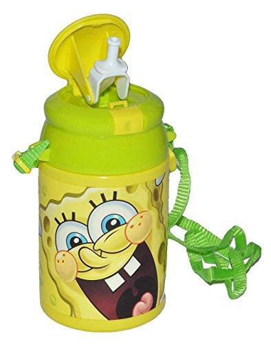 alles-meine.de GmbH Trinkflasche Pop Up - Spongebob Schwammkopf - Flasche 550 ml auslaufsicher aus Kunststoff - Sportflasche für Kinder - Mädchen Jungen - Plastik