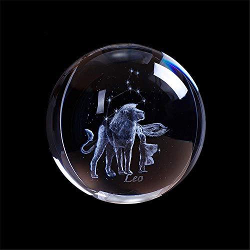 AMITD Laser gegraveerd sterrenbeeld kristallen bal miniatuur 3D kristal handwerk decoratie glas bal decoratie accessoires geschenk (80mm, leeuw)
