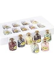 Jcevium 1 låda med 9 flaskor naturliga halva ädelstenar chip kristall helande tumlade Reiki Wicca resa naturliga stenar ???Dekoration