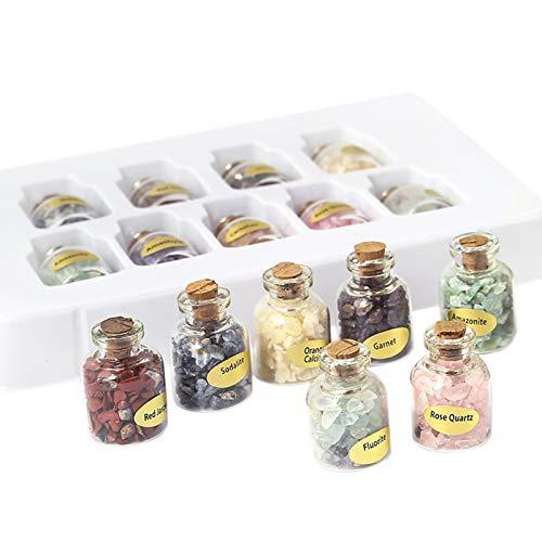 Jcevium 1 Box Von 9 Flaschen Natürliche Halb Edelstein Chip Kristall Heilung Getrommelt Reiki Wicca Reise Natur Steine ??Dekoration