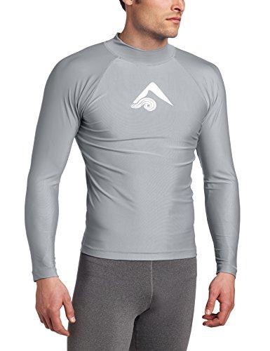 Kanu Surf Men's Long Sleeve Platinum UPF 50+ Rashguard, Grey, Medium