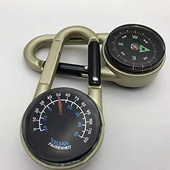 TAKE FANS 1 mini boussole avec mousqueton et thermomètre - Porte-clés pour extérieur, randonnée, camping, escalade, chasse, voyage
