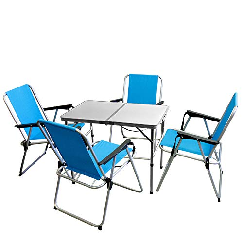 Multistore 2002 5tlg. Campingmöbel Set Aluminium Campingtisch 'Bergen' 90x60cm + 4X Campingstühle Blau, klappbar inkl. Schultergurt, Gartenmöbel Campinggarnitur