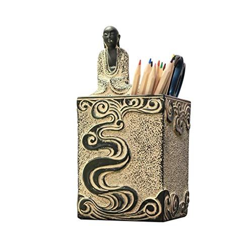 TNSYGSB Soporte de pluma de resina retro personalizado, caja de almacenamiento manual multifuncional para estudio de oficina, contenedor creativo de escritorio de decoración de regalo de negocios