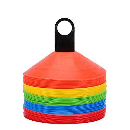 VGEBY 50pcs Coni da Allenamento per attività Sportive, Coni Piatti Sportivo Multifunzione a Colori con Maniglia di Trasporto in Plastica per Calcio, Segnaposto