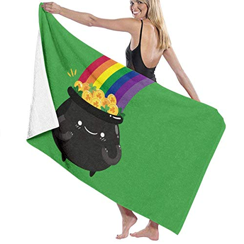 Precioso caldero con Monedas de Saint Patrick S Day Toalla de Playa Personalidad Piscina Toalla de baño de Gran tamaño 130x80 cm