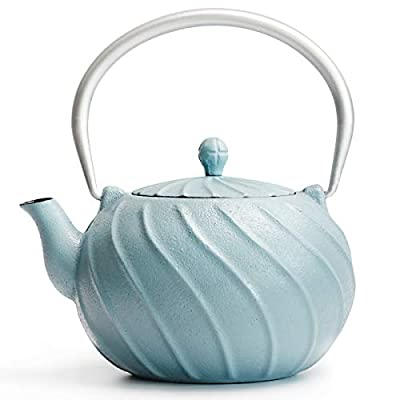 Cast Iron Teapot, TOPTIER Japanese Cast Iron Tea Kettle with Infuser, Cast Iron Tea Kettle Stovetop Safe, Wave Design Teapot Coated with Enameled Interior for 30 Ounce (900 ml), Turquoise Blue