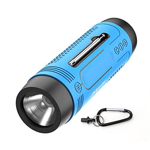 LAMA Multifunktion Bluetooth Lautsprecher mit Taschenlampe Radio Power Bank Klein Tragbar IPX5 Wasserdicht Bluetooth 5.0 Speaker Unterstützt USB TF Karte AUX FM für Outdoor Fahrrad Camping Sport Blau
