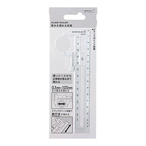 デザインフィル ミドリ CL 厚みを測れる定規 透明 42260006