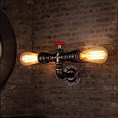 BYSUN Retro Wall lamp Retro Industrial Steampunk Wall Sconce, 2 Lights Metal Water Pipe Style Wall Mounted Lamp Light Fixture E26 Wall Industrial Vintage Edison Lamp Fixture