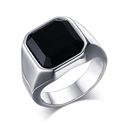 スクエア ブラック オニキス 印台 リング カット デザイン シルバー ハイポリッシュ メンズ ファッション ステンレス ジュエリー 指輪 Silver (19号)