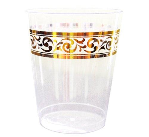 Decorline- Stoviglie plastica Deluxe- per Feste Decorate-Party - USA e Getta - Color Crema,con Bordo in Oro - Plastica Rigida - Utilizzare monouso (Bicchiere di plastica Cristallo monouso 280ml)