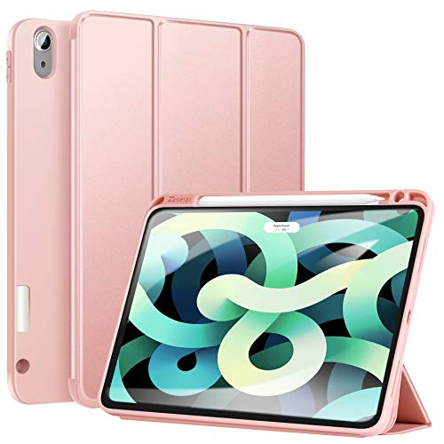Ztotop Case for New iPad Air 4 10.9 Inch 2020 (4th Generation)/iPad Pro 11'' 2018 1st Gen with Pencil Holder, Lightweight Soft TPU Back and Trifold Protective Cover, Support Auto Sleep/Wake, Rosegold