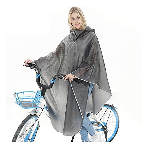 WUIO EVA Chubasquero Lluvia Capa, Doble Visera Reflectante Bicicleta Eléctrica Capucha del Impermeable Concierto para Camping Trabaja Al Aire Libre Turismo Lluvia,Gris
