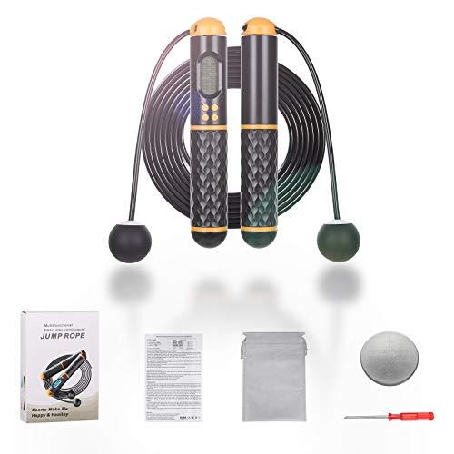 Corda per saltare senza canna, corda per saltare con contatori di calorie, corda regolabile per saltare fitness con schermo LED ad alta trasparenza per interni ed esterni