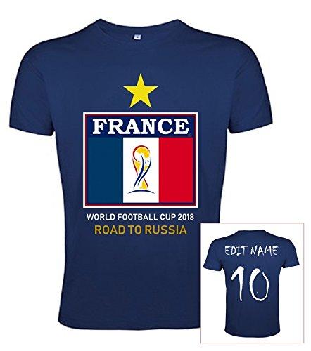 JL Copa Mundial de Fútbol 2018 Camiseta Francia Poliéster Bandera - Nombre y Número Personalizable (XX-Large, Nombre y Número)