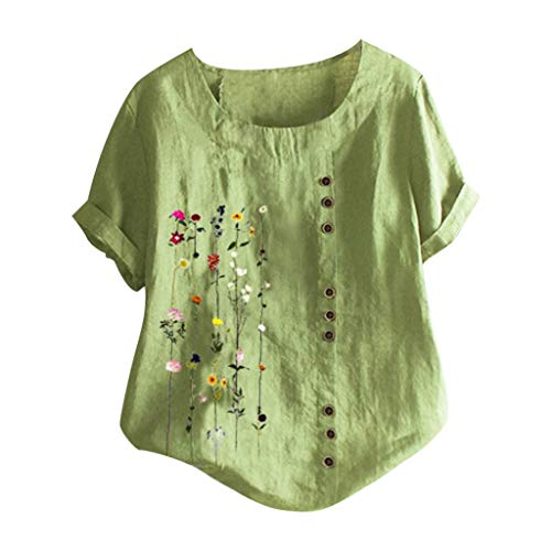 Xinantime Womens Summer Bohemian Floral Embroidered Shirt Loose Comfy O-Neck Button Roll Up Short Sleeves Top Blouse (Green,Large)