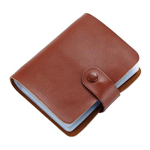 esdrem funda de piel estilo libro titular de la tarjeta de Crédito Tarjeta de Identificación de negocios 60Count nombre tarjeta titular libro marrón