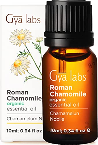 Gya Labs Organic Roman Chamomile Essential Oil - Great for Stress Relief and Sleep - Natural Moisturizer for Dry and Sensitive Skin Care -100 Pure Therapeutic Grade for Aromatherapy and Topical -10ml