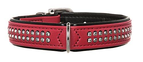 HUNTER MODERN ART DELUXE Hundehalsband, Kunstleder, Strasssteinchen, 45 (S-M), rot/schwarz