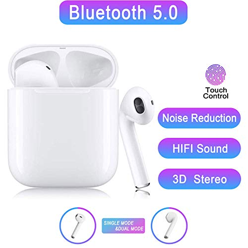 Auricolare Bluetoot,Cuffie Bluetooth touch,24h Playtime 3D stereo HD Cuffie Wireless, Binaurale Call auto Pairing,Con Scatola di Ricarica,Per iPhone/S