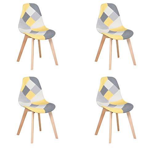 Lot de 4 Chaise,chaises Patchwork Design rétro,chaises de Salle à Manger rembourrées avec Pieds en hêtre,Convient pour Salle à Manger, Restaurant, Salon (Jaune)