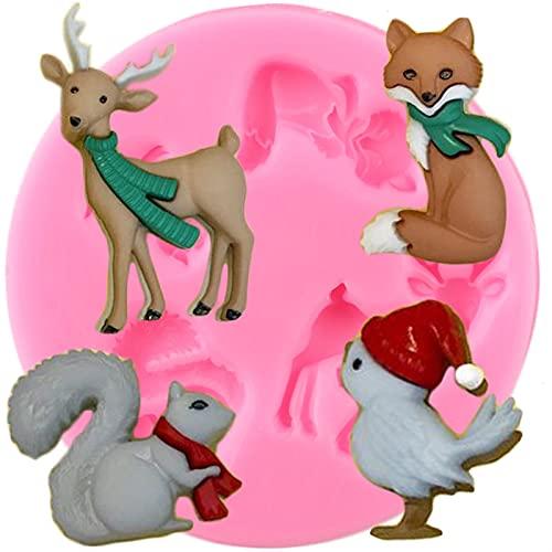 XIAOM Molde de silicona para tartas de animales Moldes de silicona Fox Deer Ardilla Aves Fondant Cake Decoración Herramientas Cupcake Topper Candy Clay Chocolate Gumpaste Moldes
