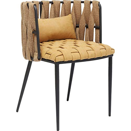 Kare Design Armlehnstuhl Cheerio, gelber Flechtstuhl mit Kissen,stylischer Esszimmerstuhl aus Kunstfaser, (H/B/T) 75x55x52cm