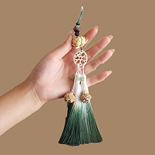 JONJUMP The Untamed Lotus Waist Colgante Madera Tallada Lotus Bodhi Beads Borla Artesanía Decoración Colgante