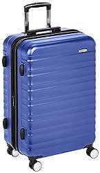 small Amazon Basics Premium Hard Side Spinner TSA Luggage Case – 26 Inch Blue