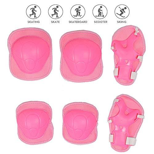 Nuluxi Rosa Niños Bicicleta Protecciones Kit Niños de Protecciones Rodillas Coderas Kit Set Proteccion Protector de Muneca Guardias Adecuado para el Monopatín Patinar y Bicicleta(Conjunto de 6 piezas)