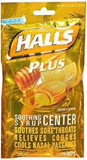 Halls Plus Soothing Syrup Center Drops Honey-Lemon - 25 ct, Pack of 5