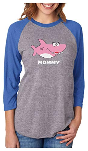 Shark Shirt for Mom Mother's Day Family Mommy 3/4 Women Sleeve Baseball Jersey Shirt X-Large Blue/Gray
