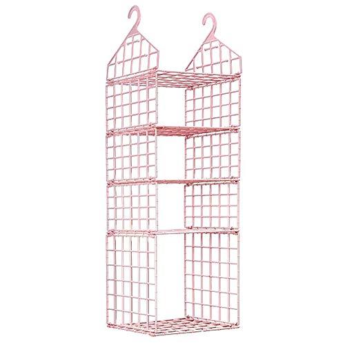 JSF Hängeaufbewahrung Schrank, 4 Schichten Kleiderschrank Veranstalter - Keine verformung - Kleiderschrank Organizer Regal für Kleidung, Pullover, Handtücher, Pyjamas und Hüte (Rosa)