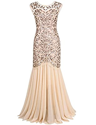 Kayamiya Women's 1920s Beaded Sequin Floral Maxi Long Gatsby Flapper Prom Dress