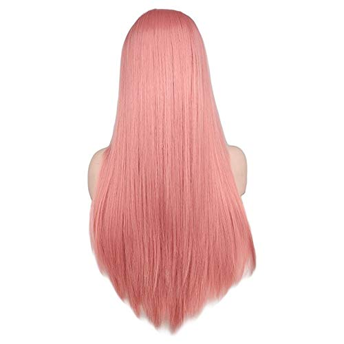 LEZDPP Mesdames mi-Longue Perruque Cheveux raides Noir Blanc Rose Orange Violet Cheveux Gris Chaleur synthétique résistant à Cheveux (Color : C)