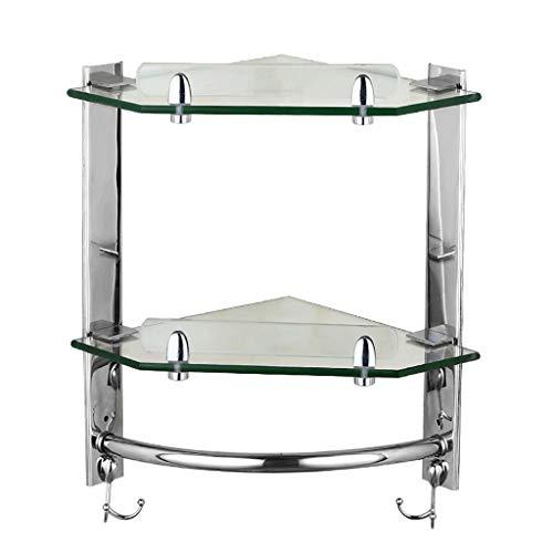 ZYING Período de Estante de Vidrio de baño bañera de Esquina Caddie Cesta de Almacenamiento Organizador con Colgantes de Vidrio Extra Gruesos Estilo de Montaje en Pared contemporáneo