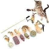 8 piezas de juguete para gatos con plumas de gato, varita mágica de madera, caña de pescar realista con divertido rata de bola para gatitos