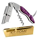 Professional Waiter Corkscrew Wine Key for Bartenders Set of 3,With Natural Resin Handle Stainless Steel Handle Wine Tool Wine Opener for Bar Restaurant Waiters, Sommelier, Bartenders (Purple 1 Pack)