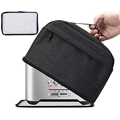 VOSDANS 2 Slice Toaster Cover with Removable Bottom 2-in-1 Toaster Bag with Pockets Toaster Storage Bag with Handle, Dust and Fingerprint Protection, Machine Washable, Black (Patent Design)