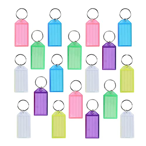 Etichette per chiavi, 36 pezzi, portachiavi per etichette identificative, borsa da viaggio, etichetta con anello diviso, etichetta di memoria per nome dell'animale domestico (sei colori)
