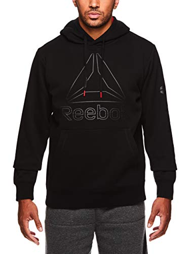 Reebok Men's Performance Pullover Hoodie - Graphic Hooded Activewear Sweatshirt - Black Box Jump, Large (Best Way To Stop Farting)
