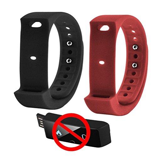veriya Original i5Plus Smart Armband Ersatz Spare Strap für iwown i5Plus Fitness Tracker 2Stück, rot / schwarz