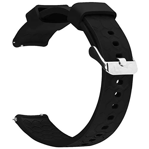 Watch Band Strap for Pebble time Smartwatch Band Replacement Accessories with Metal Clasps Watch Strap Wristband Silicone (Style2-Black)
