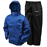 FROGG TOGGS Men's Classic All-Sport Waterproof Breathable Rain Suit Royal Blue Jacket/Black Pants, Medium ,count of 2