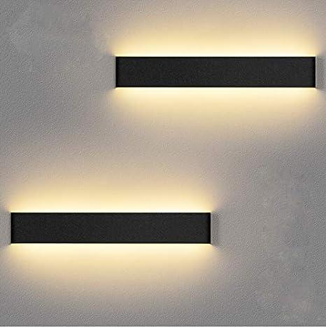 LEDMO Apliques Pared Interior 12W Blanco Cálido, 2 Piezas Lamparas de Pared 36CM Superior Modernos de 110V-260V, Apliques interior Pared Perfecto Para Salon Dormitorio Sala Pasillo Escalera