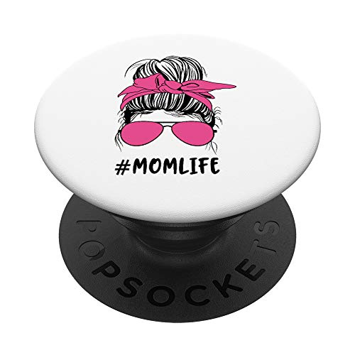 Messy Bun Mom Life Matching Mommy Daughter Mother Hot Pink PopSockets PopGrip: Swappable Grip for Phones & Tablets